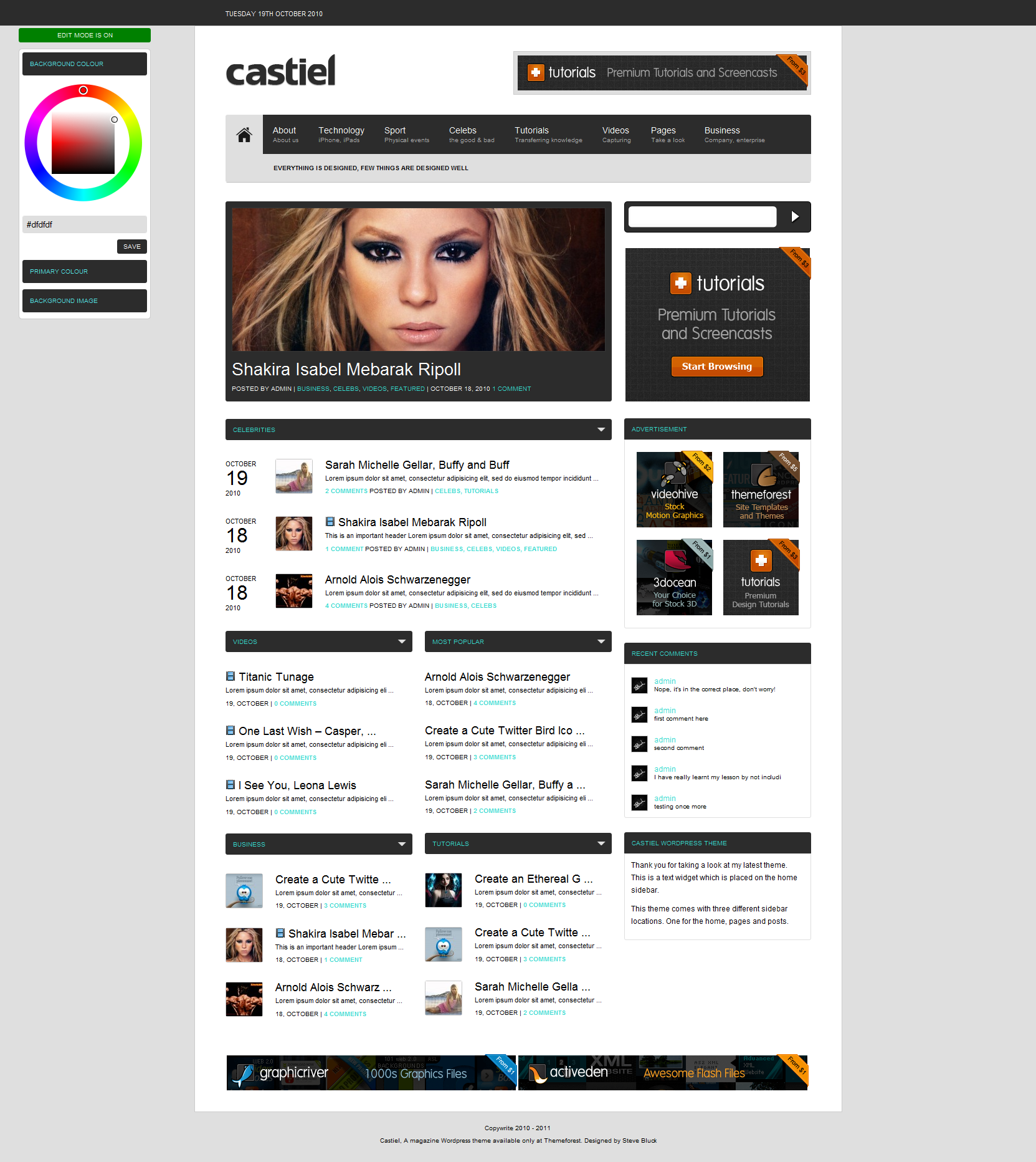 Castiel A Magazine Style Wordpress Theme Graphicsbeam
