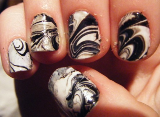 Marble Nail Art Black And White Nail Art Back And White Marble