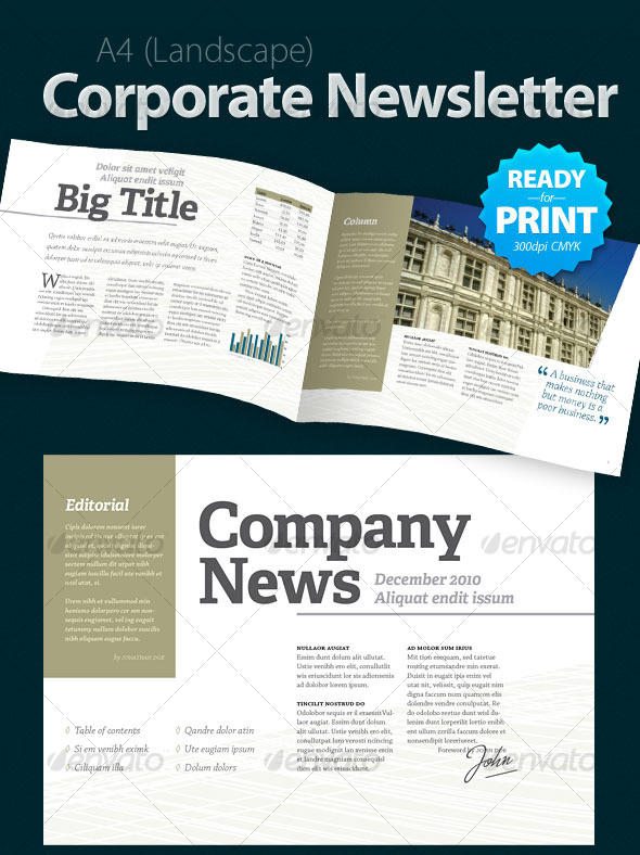 A roundup of creative premium newsletter templates for Corporate newsletter design inspiration